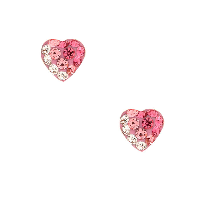 Sterling Silver Crystal Ombre Pink Stud Earrings,
