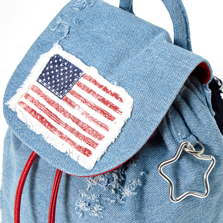American Flag Denim Small Backpack - Blue,