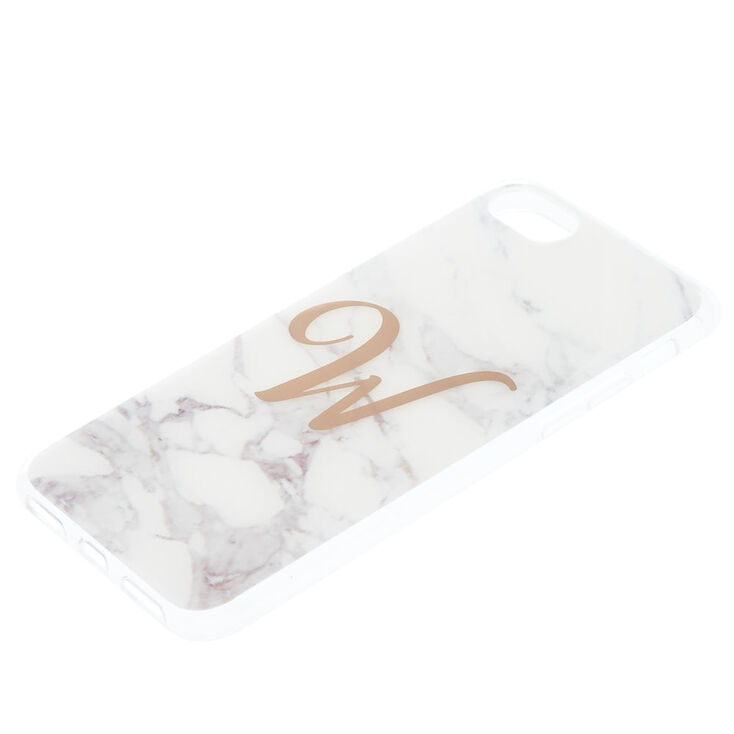 Marble W Initial Phone Case - Fits iPhone 6/7/8,