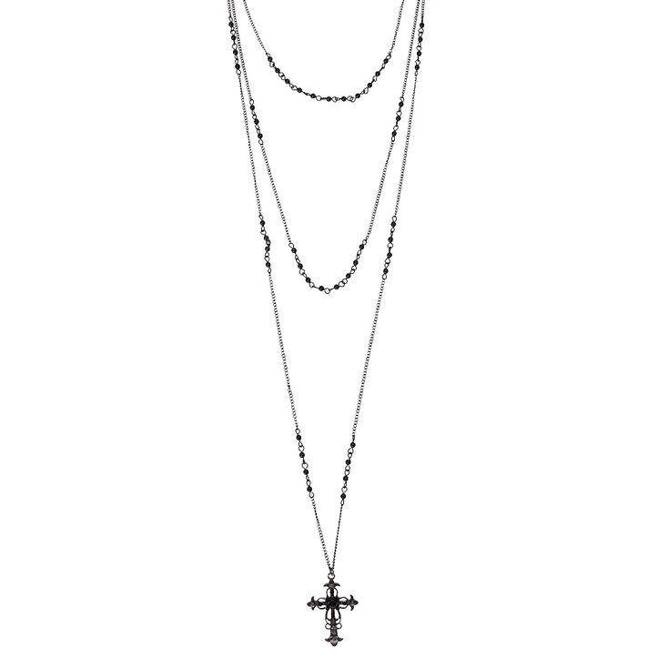 Black Triple Layer Cross Necklace,