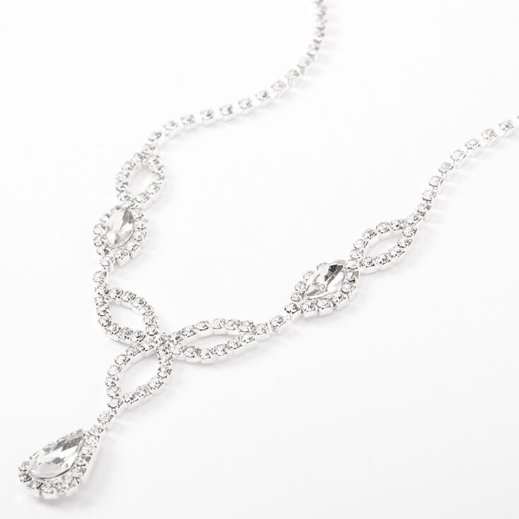 Silver Rhinestone Celtic Loopy Statement Necklace,