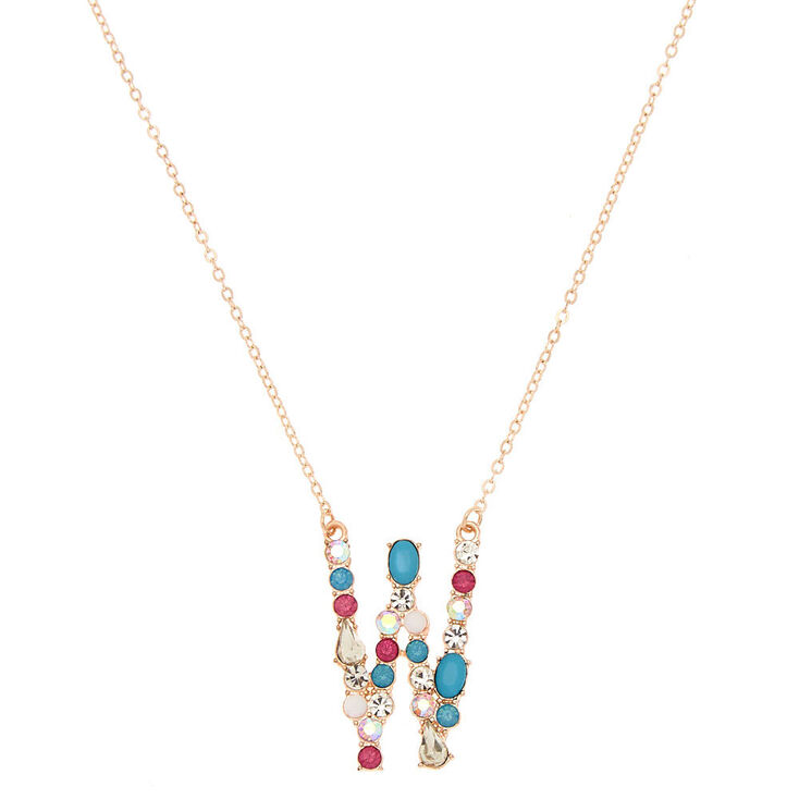 Embellished Long Initial Pendant Necklace - W,