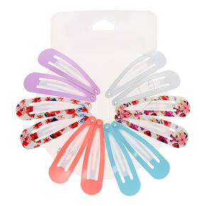 Pastel Floral Snap Hair Clips - 12 Pack,