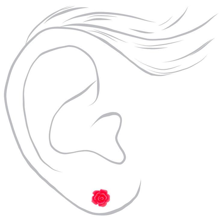 Silver Neon Flower Stud Earrings - 3 Pack,