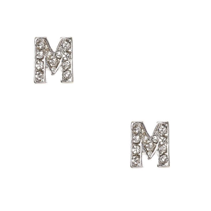 "Silver Tone Faux Crystal Initial ""M"" Stud Earrings,"