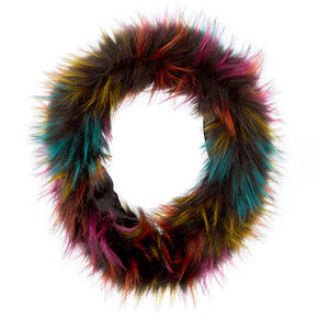 Faux Fur Cowl Neck Scarf - Rainbow,