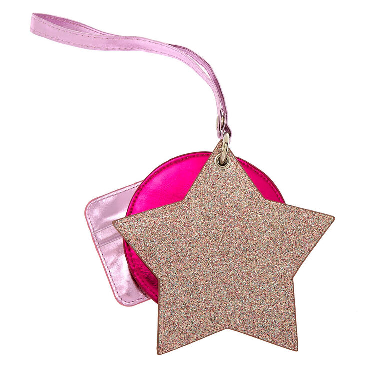 Metallic Glitter 3 Piece Wristlet - Pink,