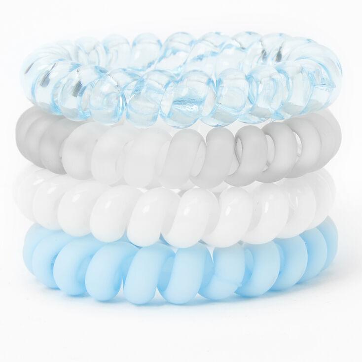 Pastel Blues Spiral Hair Ties - 4 Pack,