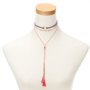 Gold Tassel Choker Multi Strand Necklace - Pink,
