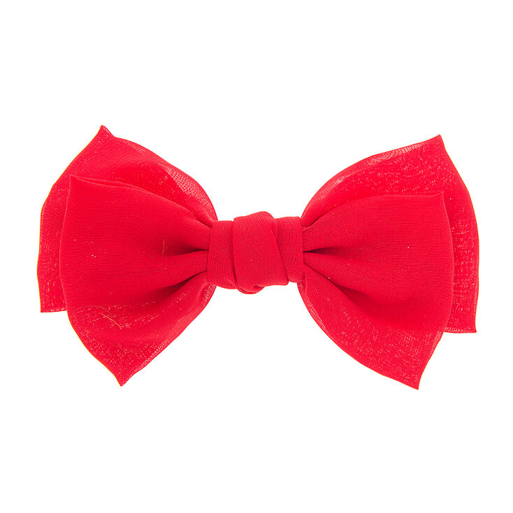Red Double Layered  Chiffon Bow Hair Clip,