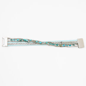 Silver Stone Suede Wrap Bracelet - Turquoise,