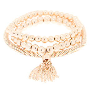 Rose Gold Tassel Stretch Bracelets - 3 Pack,