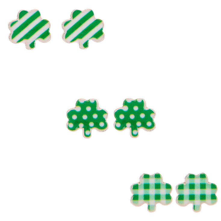 Silver Patterned Shamrock Stud Earrings - Green, 3 Pack,