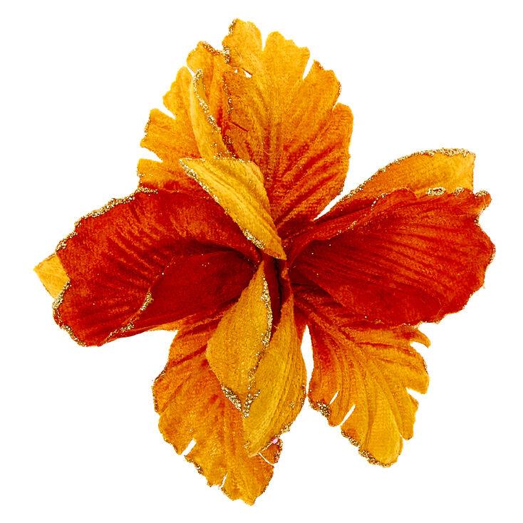 Velvet Glitter Flower Hair Clip - Mustard,