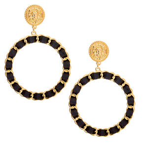 "Gold 2.5"" Woven Lion Hoop Drop Earrings - Black,"