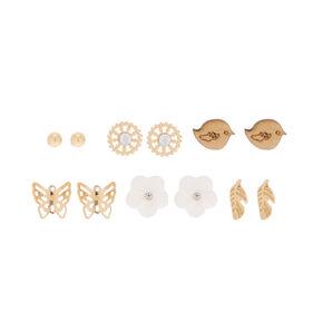 Gold Spring Floral Stud Earrings - 6 Pack,