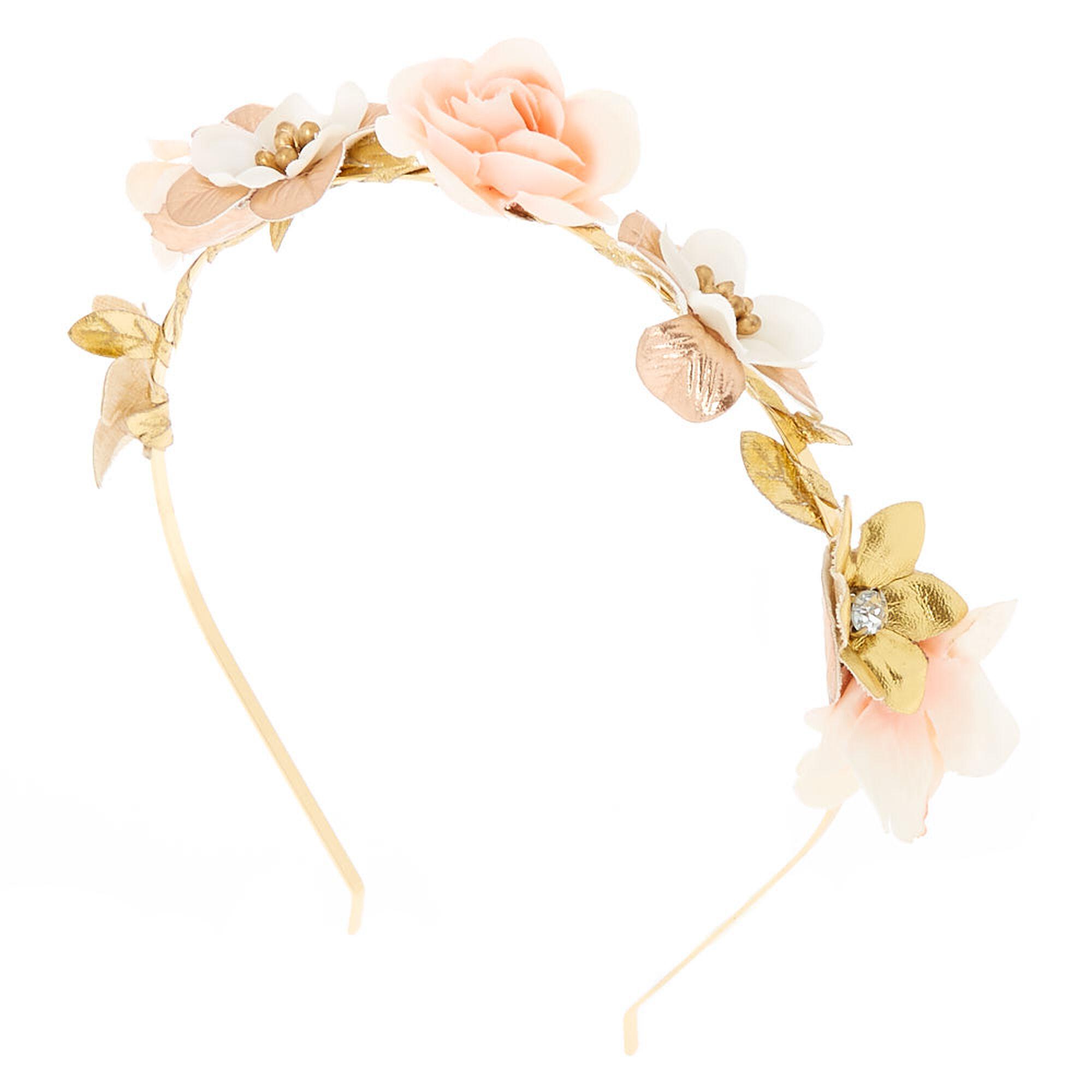 Rose Gold Flower Skinny Headband Blush Pink Icing Us