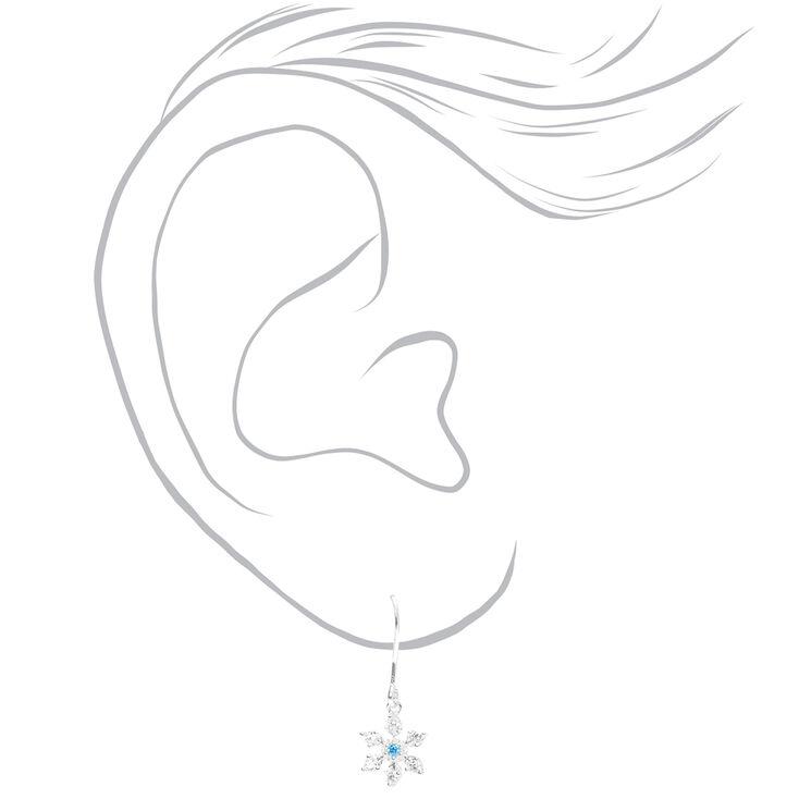 """Sterling Silver 0.5"""" Snowflake Stud Earrings - Blue,"""