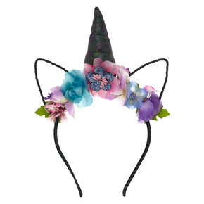 Dark Unicorn Flower Crown Headband - Purple,
