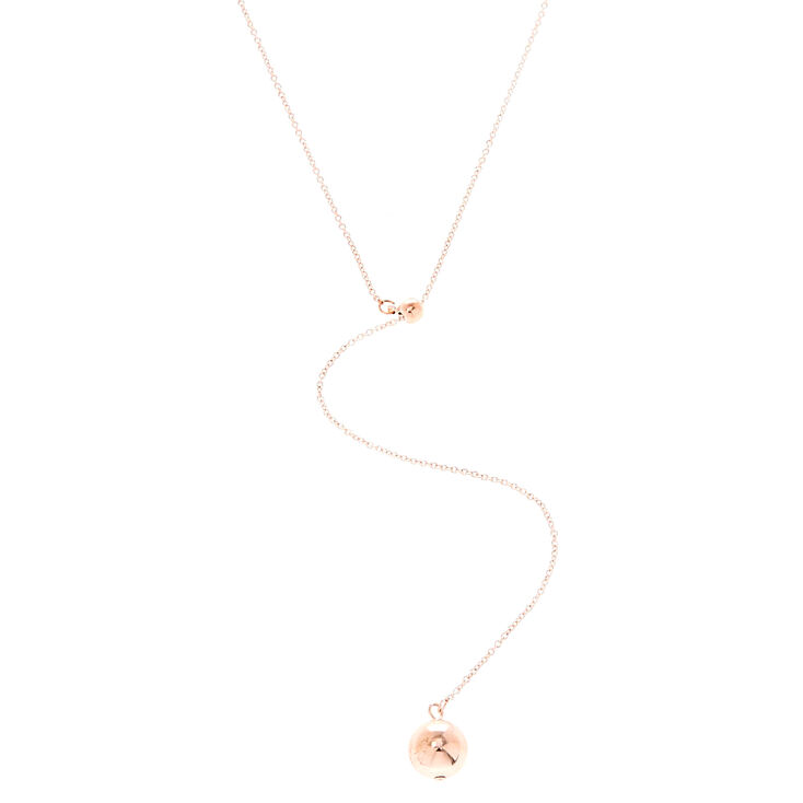 Rose Gold Ball Y Neck Necklace,