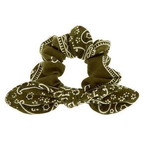 Paisley Print Bandana Bow Hair Scrunchie - Olive Green,