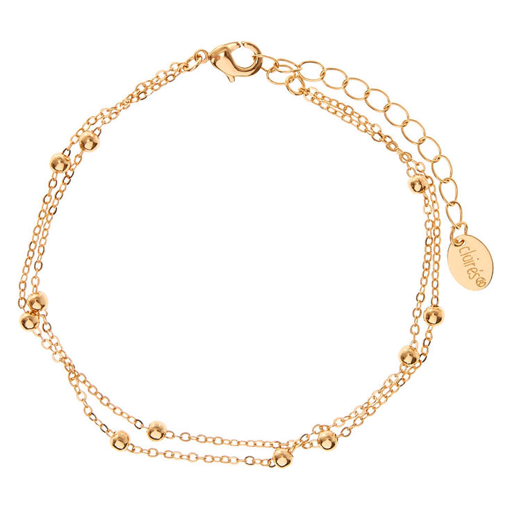 Gold Ball Bead & Chain Anklet,