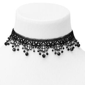 Beaded Lace Ornate Choker Necklace - Black,