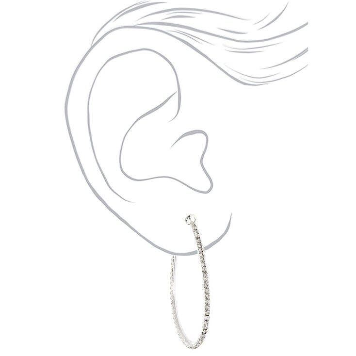 Silver Rhinestone 50MM Oval Hoop Earrings,