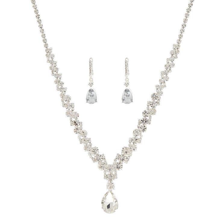 Vintage Style Jewelry, Retro Jewelry Icing Silver Imitation Crystal Teardrop Jewelry Set $24.99 AT vintagedancer.com