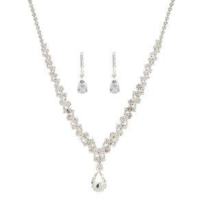 Silver Imitation Crystal Teardrop Jewelry Set,