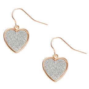 """Rose Gold .5"""" Glitter Heart Drop Earrings,"""