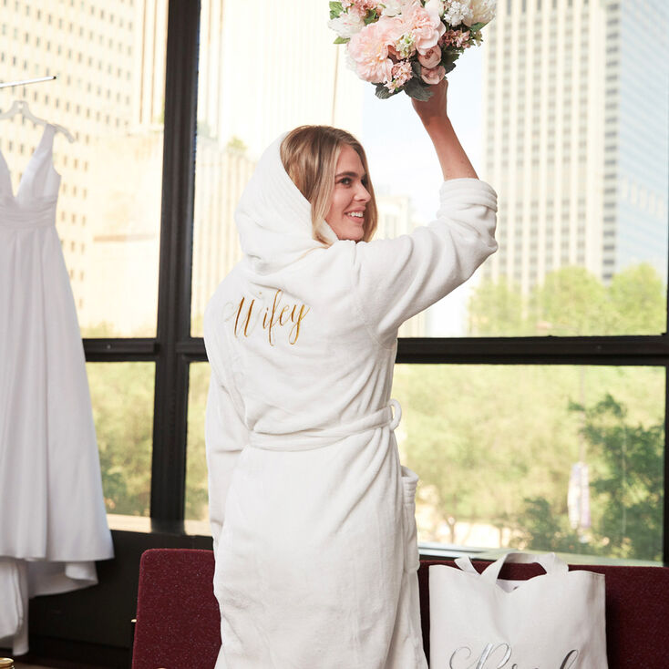 Wifey Plush Robe - White,