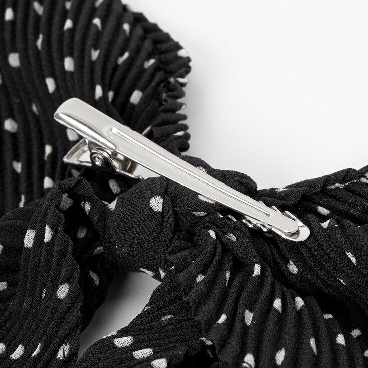 Pleated Polka Dot Hair Bow Clip - Black,