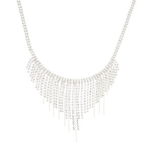 Silver Embellished Fringe Statement Necklace,