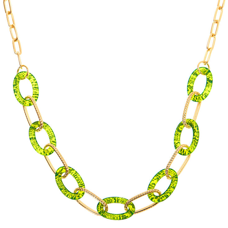 80s Fashion— What Women Wore in the 1980s Icing Gold Neon Snakeskin Chain Statement Necklace - Yellow $12.99 AT vintagedancer.com