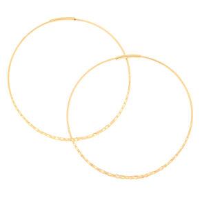 Gold 60MM Hammered Hoop Earrings,