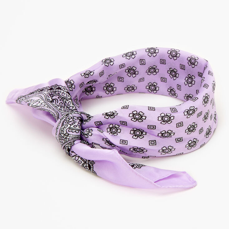Floral Paisley Silky Bandana Headwrap - Lilac,
