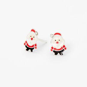 Sterling Silver Santa Claus Stud Earrings,
