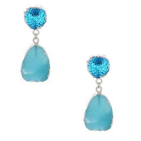 """1.5"""" Druzy Drop Earrings - Blue,"""