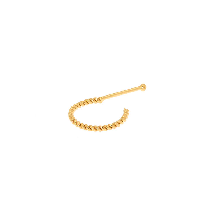Sterling Silver 22G Gold Braided Huggie Nose Ring,