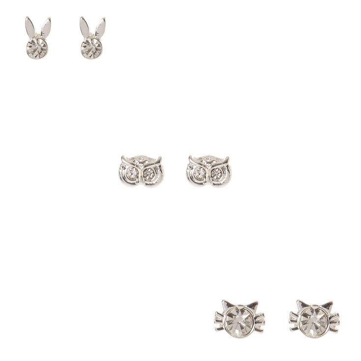 Silver Tone & Faux Crystal Animal Stud Earrings,