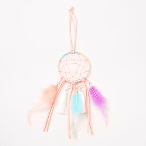 Mini Pastel Feather Beaded Hanging Wall Art - Blush Pink,