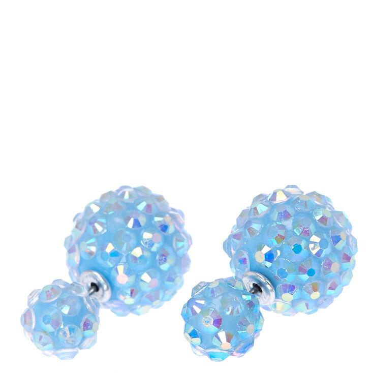 Light Blue Fireball Front & Back Stud Earrings,