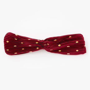 Pleated Polka Dot Twisted Headwrap - Berry,