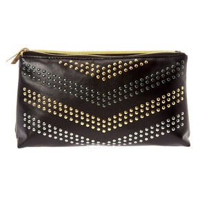 Black Faux Leather Studded Folding Makeup Bag,
