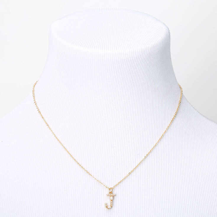 Gold Pearl Initial Pendant Necklace - J,