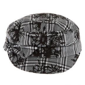 Glen Plaid Floral Captain Hat - Black,