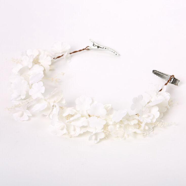 Mini Flower Hair Swag - White,