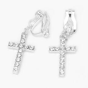 Silver Embellished Cross Clip On Stud Earrings,