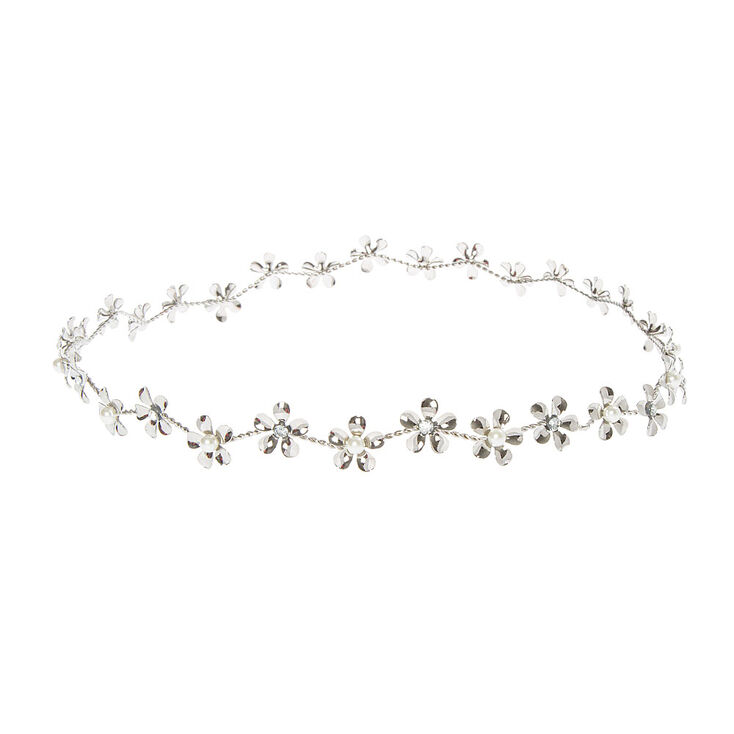 Silver Flower Crown with Pearl   Crystal Centers 5e9d0c28577